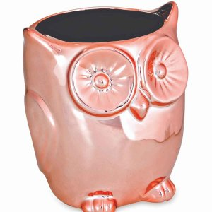 Cachepot Decorativo Coruja Rose Gold