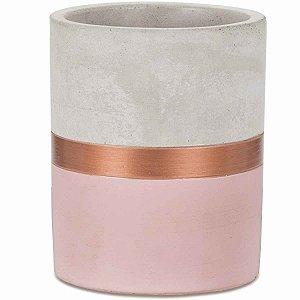 Vaso Decorativo Rosa e Cobre Cimento