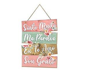 Placa Decorativa de Frases Sinto Muito