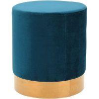 Puff Decorativo de Veludo Azul Escuro e Metal Dourado