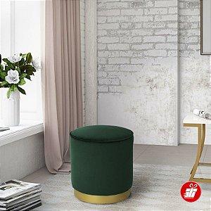 Puff Decorativo de Veludo Verde e Metal Dourado