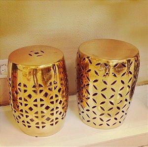Banqueta Meilina Cerâmica Dourado