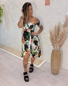Vestido Ciganinha Lastex -  Folhas