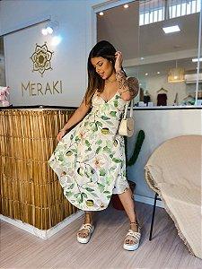 Vestido Midi Thai - Linhos de Hibiscos