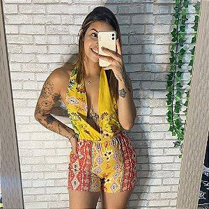 Macaquinho Decote - Amarelo Barrado