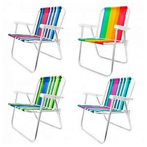 Cadeira De Praia Alta Em Alumínio