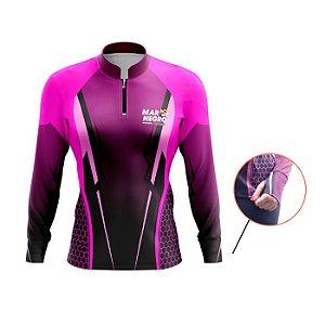 Camisa De Proteção Mar Negro Fem Est Peixes Luvinha Clean Rosa