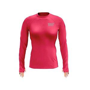 Camiseta De Proteção Mar Negro Slim Poliamida Rosa