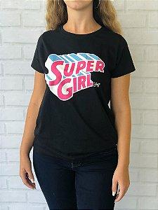 T- Shirt Preta Super Girl