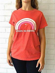 T-Shirt Vermelho No Rain No Rainbows