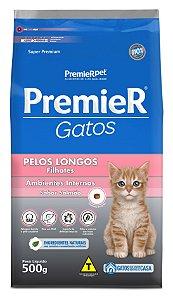 Ração Premier Ambientes Internos para Gatos Filhotes com Pêlos Longos Sabor Salmão