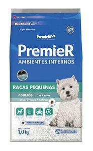 Ração Premier Ambientes Internos para Cães Adultos Raças Pequenas Sabor Frango e Salmão