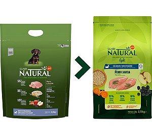 Ração Guabi Natural para Cães Adultos Light Porte Mini e Pequeno Sabor Peru e Aveia
