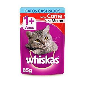 Whiskas Sachê Gato Adulto Castrado Carne ao Molho 85g
