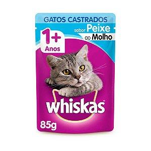 Whiskas Sachê Gato Adulto Castrado Peixe ao Molho 85g