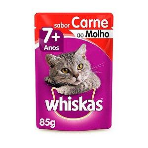 Whiskas Sachê Gato Adulto 7+ Senior Carne ao Molho 85g