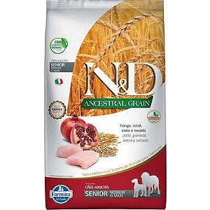 Ração ND N&d Ancestral Grain Low Grain para Cães Sênior Frango Medium e Maxi Raças Médias e Grandes