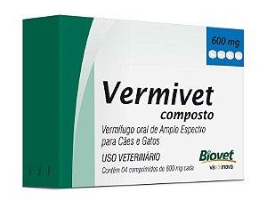 Vermífugo Vermivet Composto para Cães e Gatos 4 Comprimidos 660mg