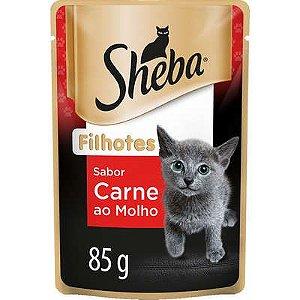 Ração Úmida Sheba Sachê Cortes Selecionados Sabor Carne ao Molho para Gatos Filhotes 85g