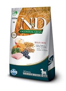 Ração ND N&d Selection Ancestral Grain Low Grain para Cães Adultos Medium Breeds Raças Médias 15kg
