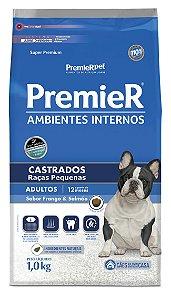 Ração Premier Ambientes Internos para Cães Adultos Castrados Raças Pequenas Mini Bits Sabor Frango e Salmão