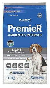 Ração Premier Ambientes Internos para Cães Adultos Light Raças Pequenas Mini Bits Sabor Frango e Salmão