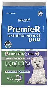 Ração Premier Ambientes Internos Duo para Cães Adultos Raças Pequenas Mini Bits Sabor Cordeiro e Peru 2,5kg