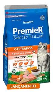 Ração Premier Seleção Natural para Gatos Adultos Castrados Sabor Frango Korin