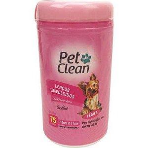 Lenços Umedecidos Pet Clean Rosa  para Cães