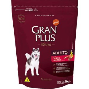 Ração Affinity Gran Plus Menu para Cães Médios e Grandes Adultos Sabor Carne e Arroz