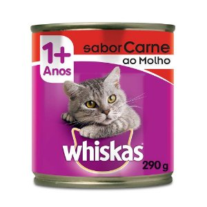 Whiskas Lata Gatos Adultos Carne ao Molho 290g