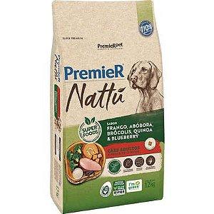 Ração Premier Nattu Cães adultos Sabor Frango e Abóbora 12kg