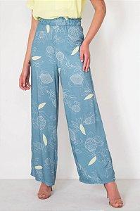 Calça Pantalona Estampa Folhagem