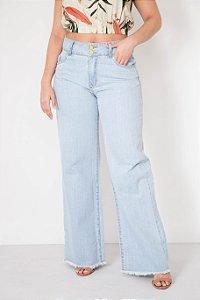 Calça Wide Leg Jeans Barra Desfiada