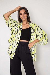 Kimono Estampa Geométrica Neon