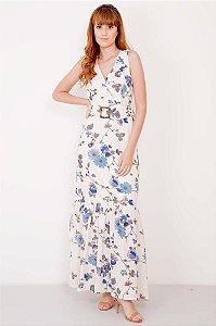 Vestido Longo Floral Fivela Cintura
