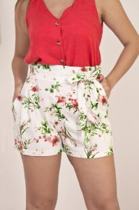 Short Floral Linho