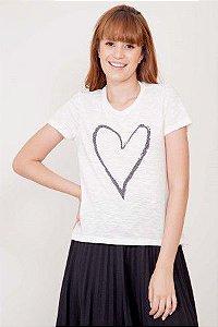 T-shirt Coração Brilho