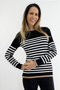 Blusa Tricot Listras Detalhe Borda