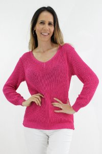 Suéter Tricot Liso Decote V
