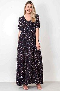 Vestido Longo Tule Constelação de Flores