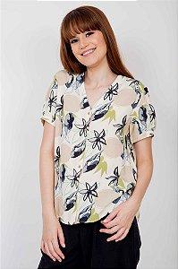 Camisa Floral Abstrata Manga Curta