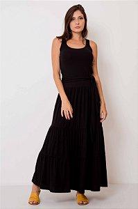Vestido Longo Canelado Camadas