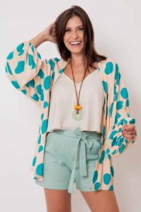 Kimono Manchas Punho Elástico