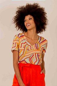 Blusa Geométrica Colorida