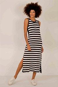 Vestido Longuete Listras Faixa Lateral