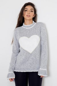 Suéter Tricot Coração Renda