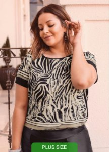 BLUSA COM ESTAMPA ANIMAL PRINT PLUS SIZE