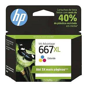 Cartucho de Tinta HP 667 XL Colorido Advantage de Alto Rendimento Original