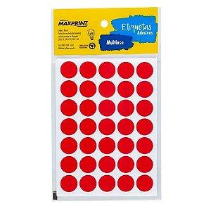 Etiqueta Multiuso Maxprint TP19VM Diâmetro 19mm 6 folhas Vermelha